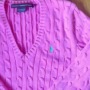 Small Polo Lauren Sport Quilted Pink Sweater